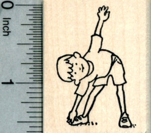 Child Exercise Rubber Stamp, Toe Touches