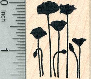 Poppy Flowers Rubber Stamp, Remembrance Series (of Veterans), Silhouette