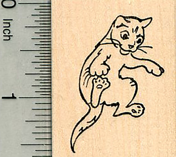 Cat Rubber Stamp, Leaping