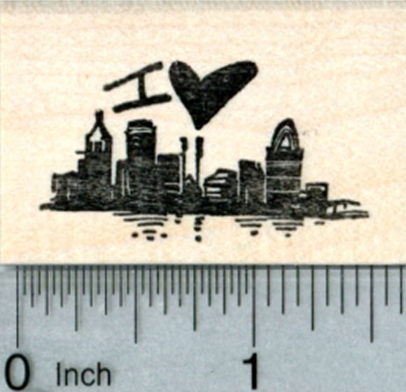 I love Cincinnati Rubber Stamp, Ohio Skyline, Travel Series