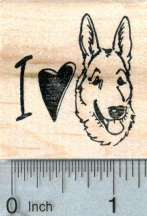 German Shepherd Rubber Stamp, I love my dog