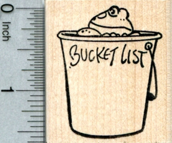 Bucket List Frog Rubber Stamp