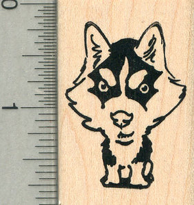 Husky Caricature Rubber Stamp, Dog