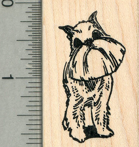 Brussels Griffon Rubber Stamp, Dog Standing