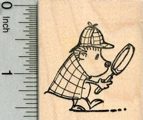Hedgehog Detective Rubber Stamp, Searching for Clues
