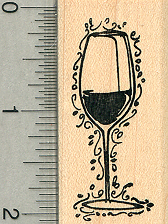 Wine Glass Rubber Stamp, with Flourishes