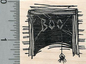 Halloween Spider Rubber Stamp, Writing Boo