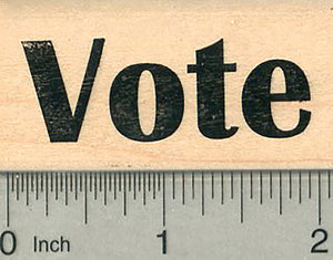 Vote Rubber Stamp, Approximately 3/4 inch tall, Election Card Series