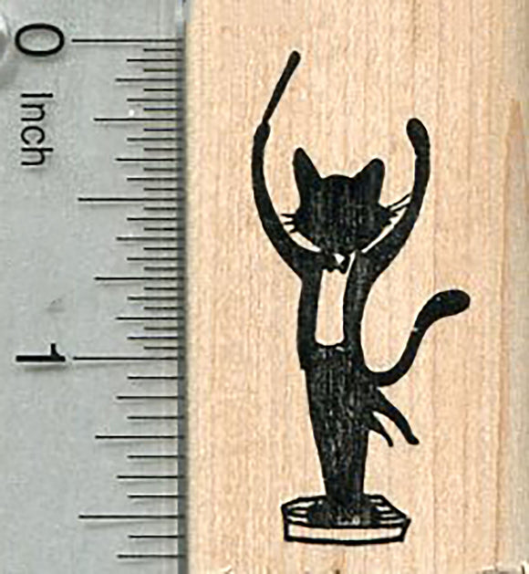 Cat Conductor Rubber Stamp, Silhouettte, Orchestra Music Series