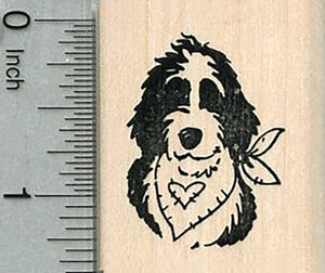 Sheepadoodle Rubber Stamp, Dog Portrait