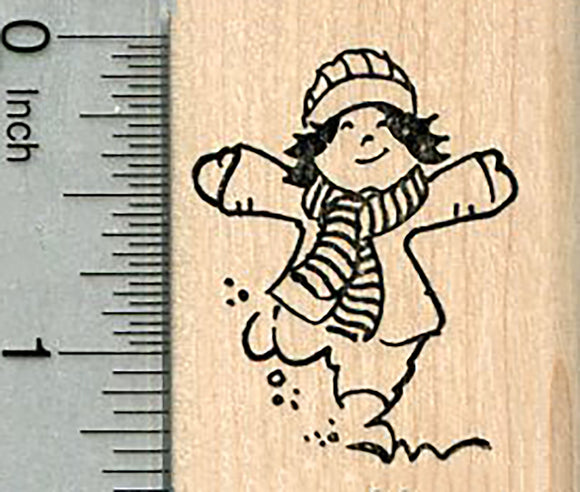 Snow Day Rubber Stamp, Child Playing Outside