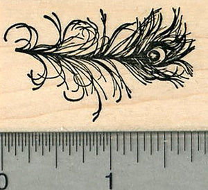 Peacock Feather Rubber Stamp