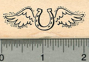 Horseshoe Angel Rubber Stamp, with Wings, Pet Loss