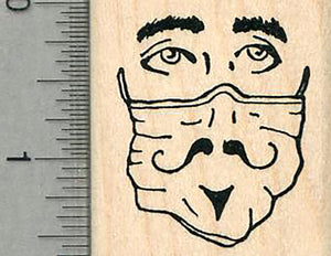 Masked Face Rubber Stamp, With painted on facial hair, Virus Series