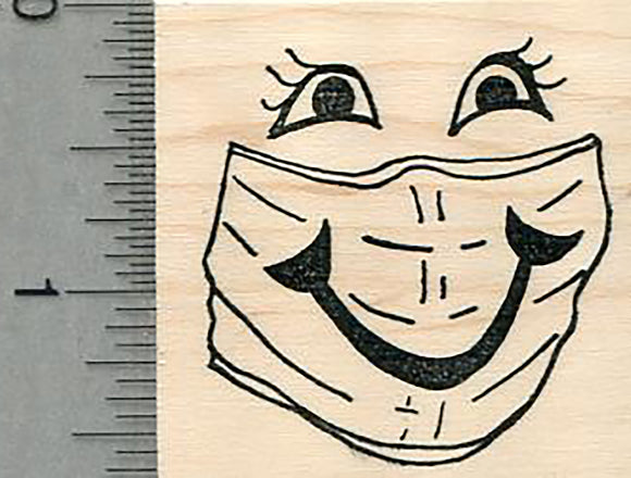 Masked Face Rubber Stamp, with painted on smile, Virus Series