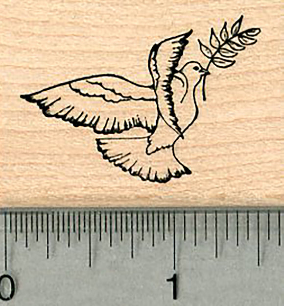 Peace Dove Rubber Stamp, Small Version, with Olive Branch