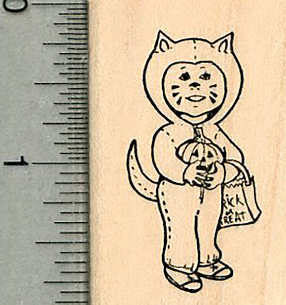 Halloween Rubber Stamp, Trick or Treater Cat Costume