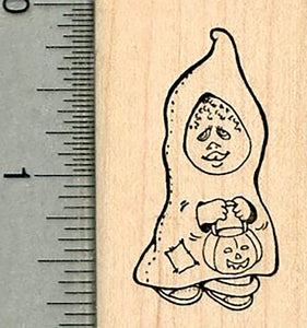 Halloween Rubber Stamp, Trick or Treater Ghost