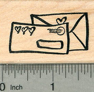 Letter Mail Rubber Stamp, with Hearts