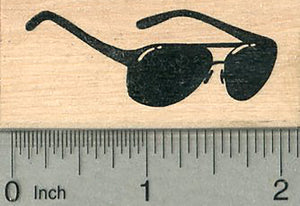 "Aviator Sunglasses Rubber Stamp, Side View, Approximately 2"" wide"