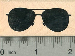 "Aviator Sunglasses Rubber Stamp, Front View, 2"" wide"