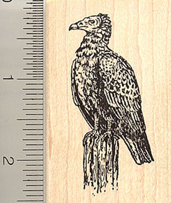 Vulture Perched Rubber Stamp - Wood Mounted
