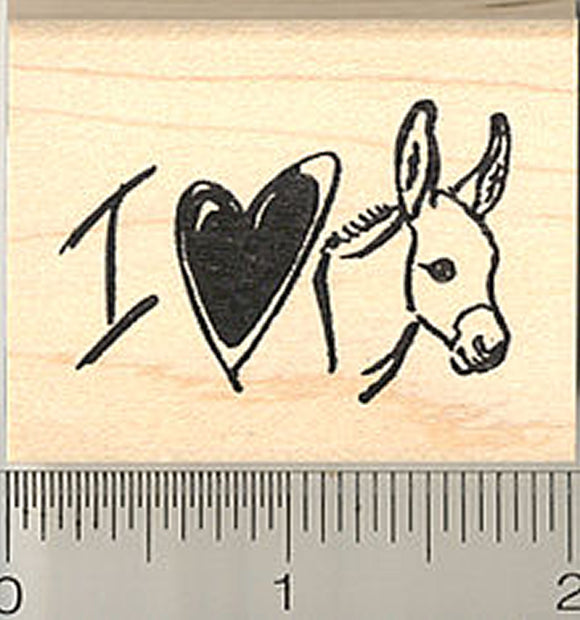 I Love Donkeys Rubber Stamp