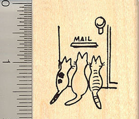 Kitties Waiting for Mail Rubber Stamp