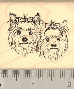 Yorkshire Terrier Dog Rubber Stamp, Pair of Yorkie Faces