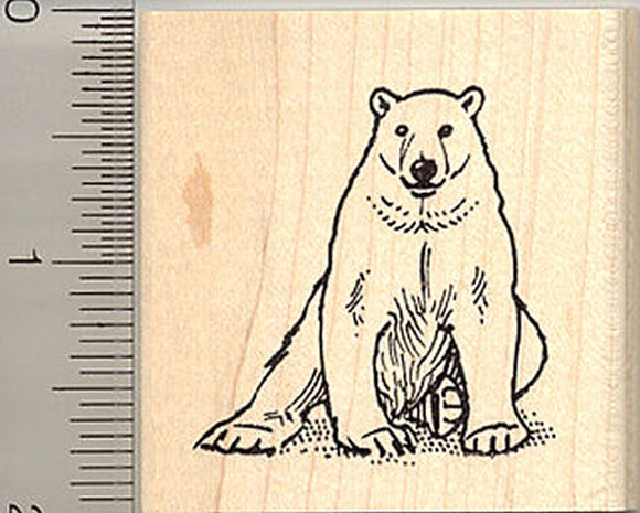 Polar Bear Rubber Stamp - Wood Mounted