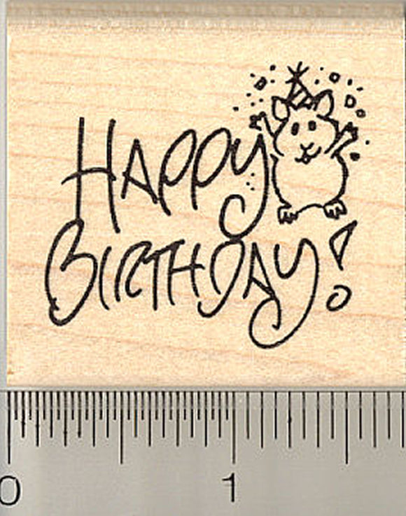 Happy Birthday Hamster Rubber Stamp