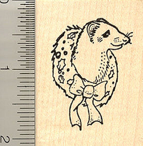 Ferret Wreath Rubber Stamp