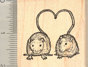 Rat Love Rubber Stamp, Valentine Heart Shaped Tails
