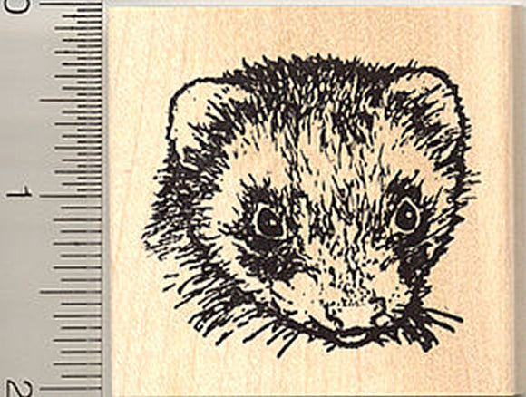 Ferret Rubber Stamp, Realistic Face
