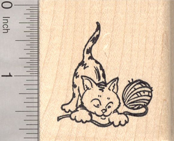 Cat with Yarn Rubber Stamp