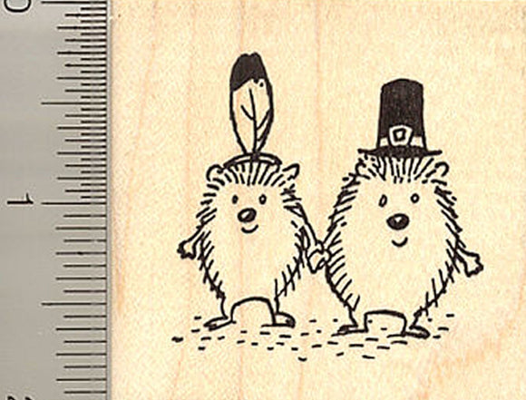 Thanksgiving Hedgehogs Rubber Stamp