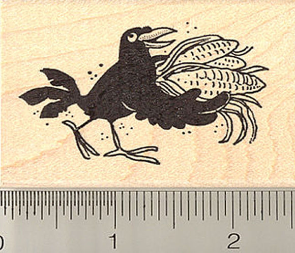 Black Crow with Corn Rubber Stamp
