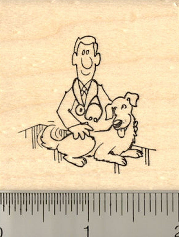 Happy Dog with Vet Rubber Stamp