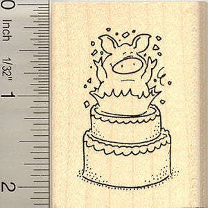 Pig Birthday Surprise Rubber Stamp