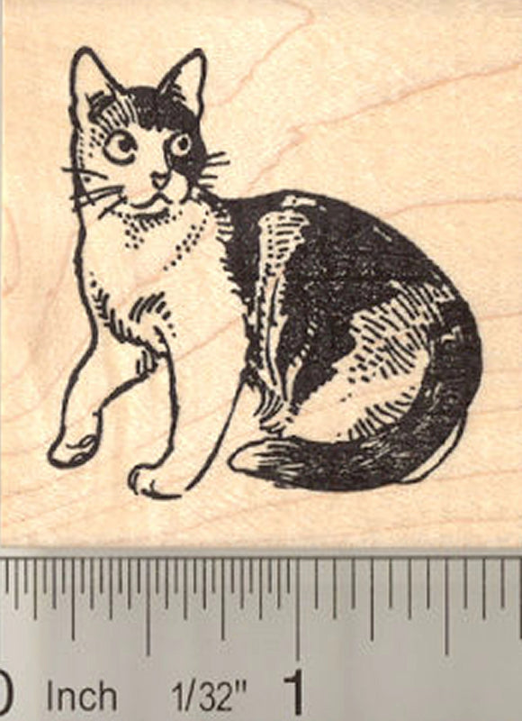 Calico Cat Rubber Stamp