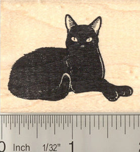 Very Black Cat Rubber Stamp