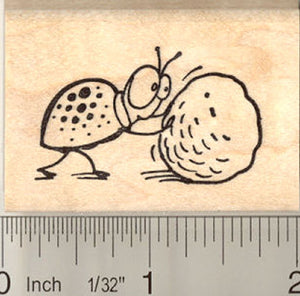 Cute Dung Beetle Rubber Stamp