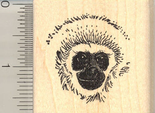 Cute Gibbon Face Rubber Stamp