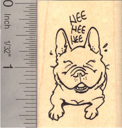 French Bulldog Laughing Rubber Stamp