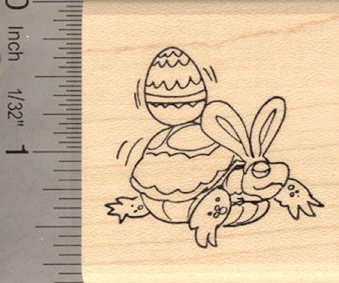 Easter Turtle Rubber Stamp