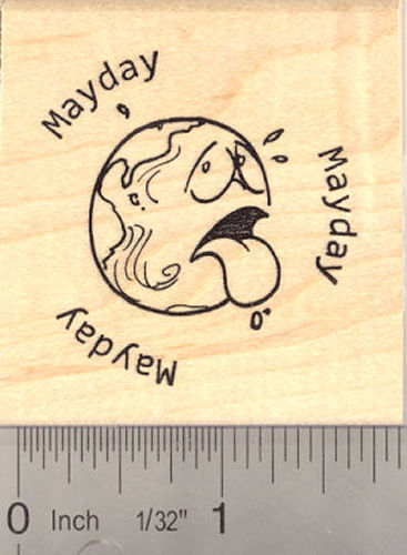 Mayday! Earth Rubber Stamp