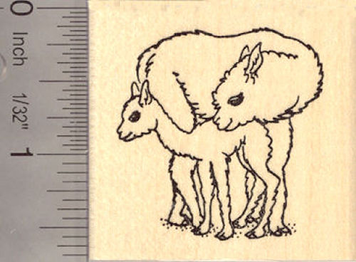 Alpaca mother and baby Rubber Stamp