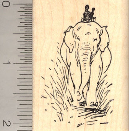 Elephant with Riders Rubber Stamp