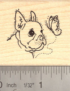 French bulldog with butterfly Rubber Stamp