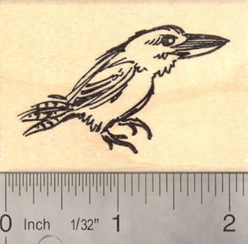 Kookaburra Kingfisher Bird Rubber Stamp Australian Bird